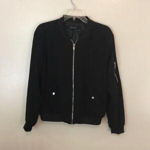 Zara Basic Black Silver Hardware Varsity Jacket